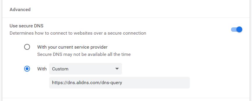 Google Chrome 浏览器使用 DNS over HTTPs(DoH)