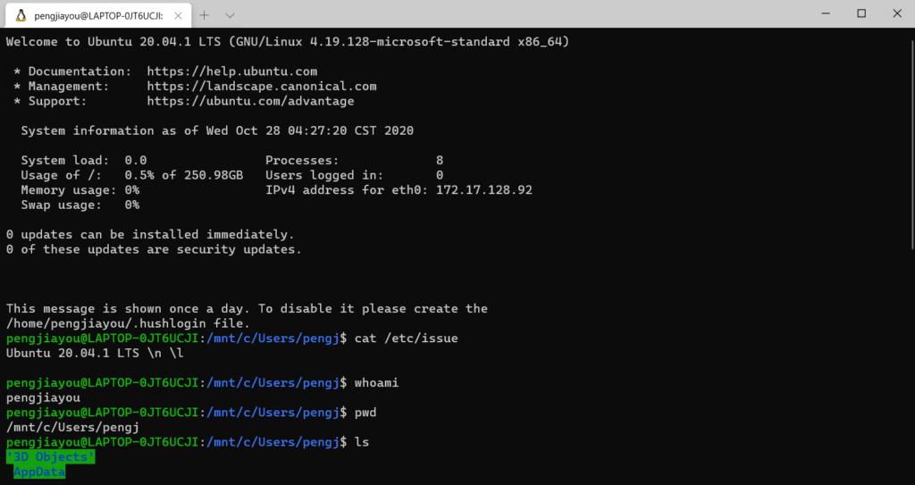 Windows 10 1909 安装 WSL2 的 Linux 子系统